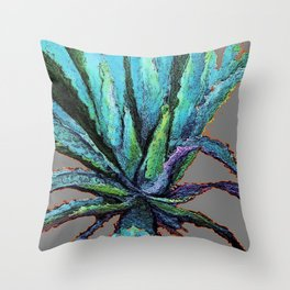 ABSTRACTED WESTERN DESERT BLUE AGAVE ON ORANGE Throw Pillow