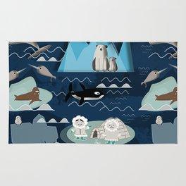 Arctic animals blue Rug