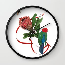 Bumblebee, Protea Flower and King Parrot Wall Clock
