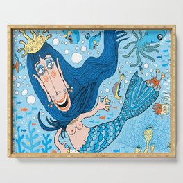 Quirky Mermaid with Sea Friends, Blue version Serving Tray