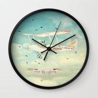 never stop exploring Wall Clocks featuring Never Stop Exploring III by Monika Strigel
