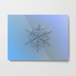 Real snowflake macro photo - Majestic crystal Metal Print