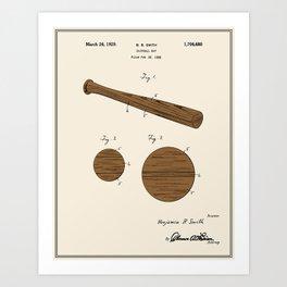 Baseball Bat Patent - Colour Art Print