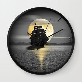 A ship with black sails Wall Clock