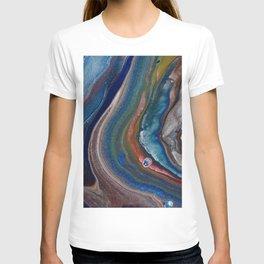 Dark Blue Metallic Fluid Pour Flow T-shirt