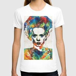 Frankenstein Bride Art - Colorful Monster Bride - By Sharon Cummings T-shirt