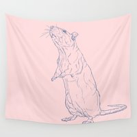 rat Wall Tapestries featuring Pink Rat by Ischelle Martin