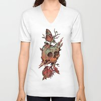 et V-neck T-shirts featuring Mors et Natura by Norman Duenas