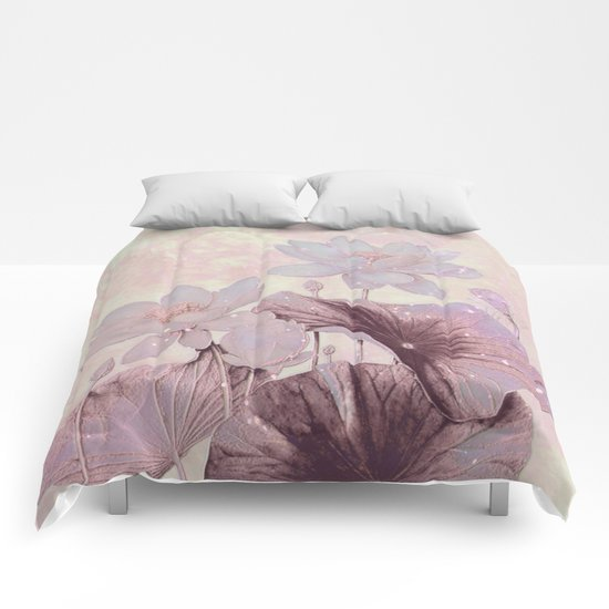 pastel waterlily Comforters