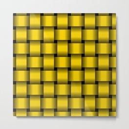 Large Gold Yellow Weave Metal Print