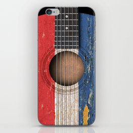Old Vintage Acoustic Guitar with Dutch Flag iPhone Skin