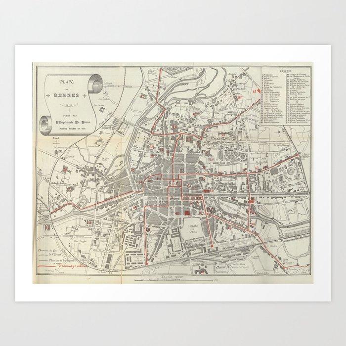 Map Of France Rennes.Vintage Map Of Rennes France 1905 Art Print By Bravuramedia Society6