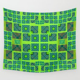 Retro Techno Glitch Quilt Green Print Wall Tapestry