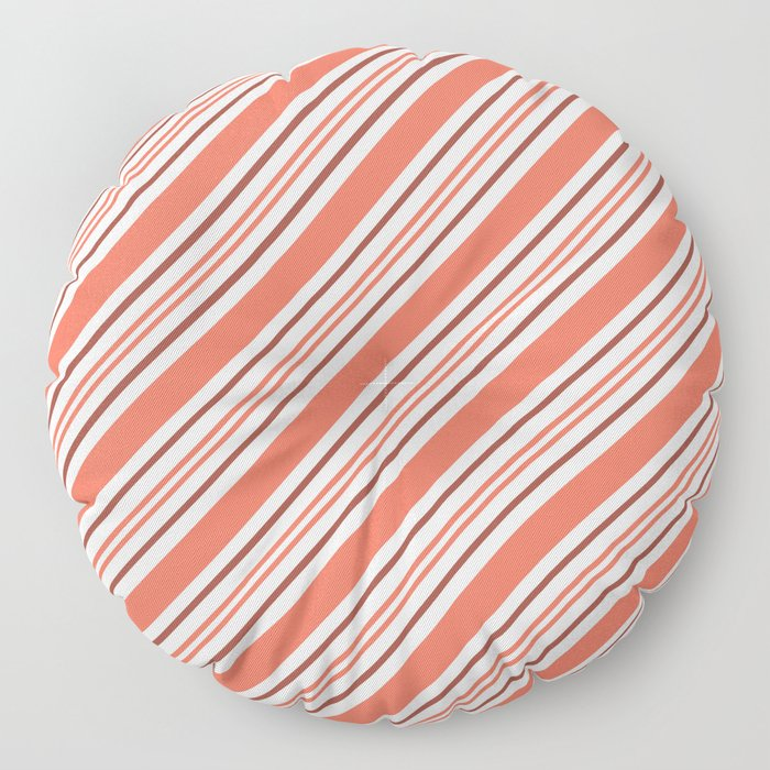 Pantone Living Coral Thick and Thin Angled Lines (Stripes) Floor Pillow
