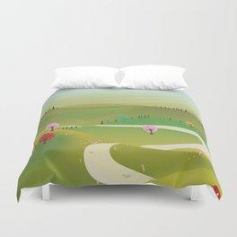 Cartoon hilly landscape Duvet Cover