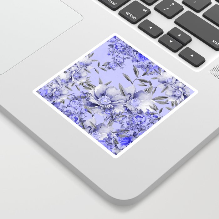 Periwinkle and Gray Floral Sticker