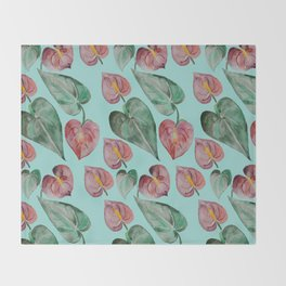 Botanical on Turquoise. Tropical Plants. Throw Blanket