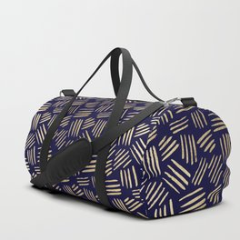 Chic navy blue faux gold abstract brushstrokes Duffle Bag
