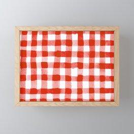Handpainted Classic Gingham Pattern Tomato Red Framed Mini Art Print