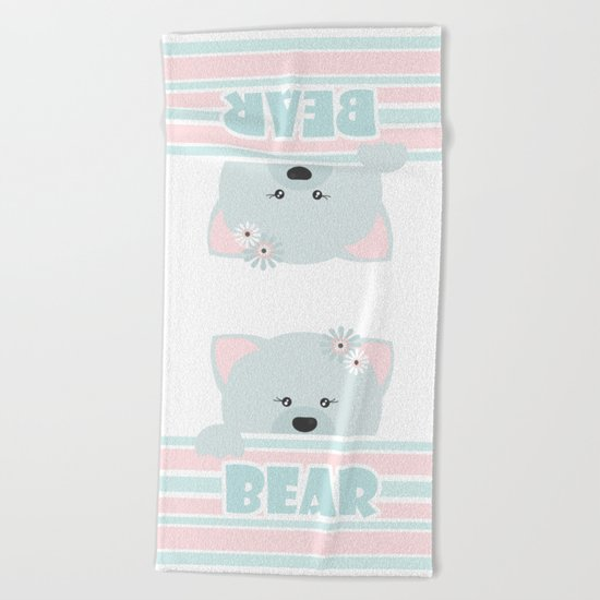 A curious bear . Beach Towel