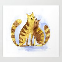 cats Art Prints featuring Cats by Anna Shell