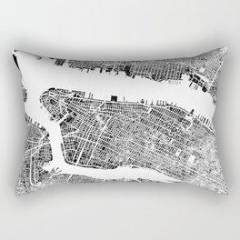 New York City Map United States White and Black Rubbing Rectangular Pillow