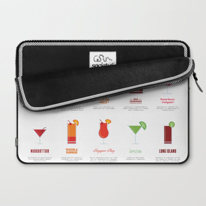 Classic Cocktails Print Art Poster | Drink Recipes | Bar Poster | Bar Art | Kitchen Art | Alcohol Laptop Sleeve