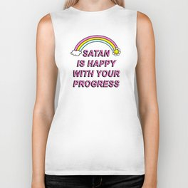 Satan is Happy with your Progress Biker Tank