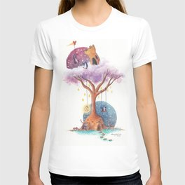 Penguins and Their Dream Tree with Castle Above and Igloo Below T-shirt