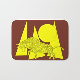yellow geometric composition on the brown with bull Bath Mat