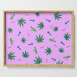Weed Leaf, Bongs, Pipes, Joint, Blunts Pattern Serving Tray