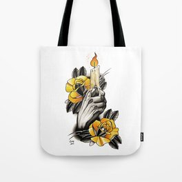 Hand holding CANDLE - tattoo Tote Bag