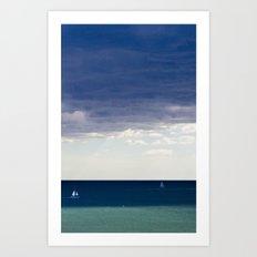 Sailing in the blue Art Print