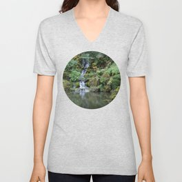 Portland Japanese Garden Waterfall Unisex V-Neck