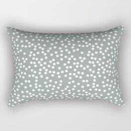 Medium Gray Green and White Polka Dot Pattern Rectangular Pillow