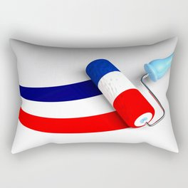 Roller paint brush giving to a white surface the colors of the french flag - 3D rendering illustrati Rectangular Pillow