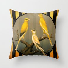 Vintage Canaries Throw Pillow