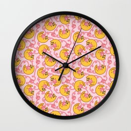 Cheddar the Cat Pattern: pink yarn Wall Clock