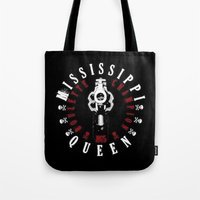 1975 Tote Bags featuring Mississippi Queen by PsychoBudgie