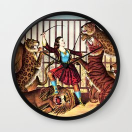 1874 Circus Show 'The Lion Queen' Lion Tamer Vintage Poster Wall Clock
