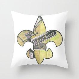 Fleur De Lis Bourbon Street Throw Pillow