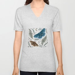 Moths and Ferns Unisex V-Neck