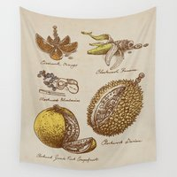 clockwork orange Wall Tapestries featuring Steampunk Fruit  by Eric Fan