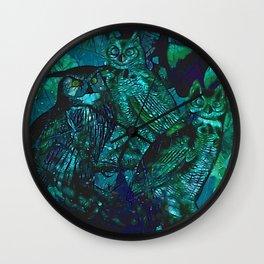 Blue Owls Wall Clock