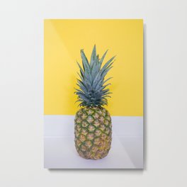 Pineapple on Yellow Metal Print