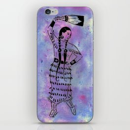 Idle No More  (Cree jingle dancer with feather fan) iPhone Skin
