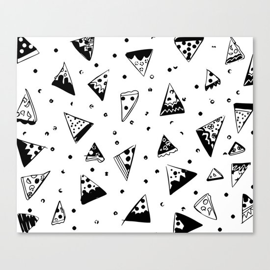 Hipster pizza seamless drawing Canvas Print