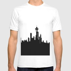 Seattle City Skyline in Black and white Mens Fitted Tee White MEDIUM