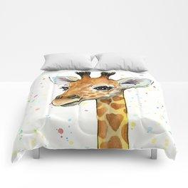 Giraffe Baby Animal with Hearts Watercolor Comforters