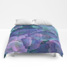Blue and teal abstract watercolor Comforters